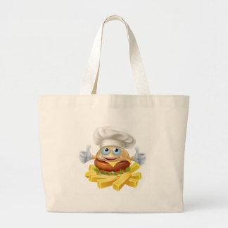 Cartoon chef burger and fries large tote bag