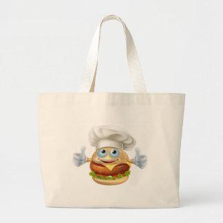 Cartoon chef burger mascot character large tote bag