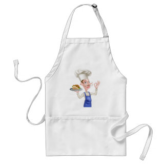 Cartoon Chef Holding Kebab Giving Perfect Sign Standard Apron