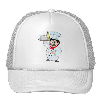 Cartoon chef holding meal and wine cap