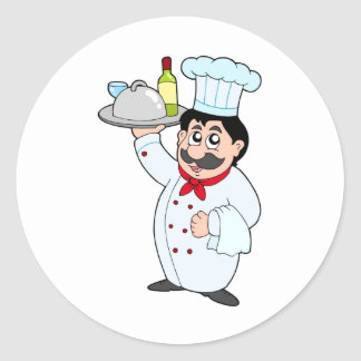 Cartoon chef holding meal and wine classic round sticker