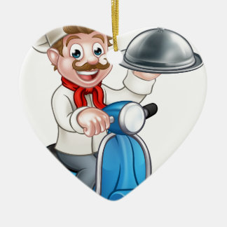 Cartoon Chef on Moped Scooter Christmas Ornament