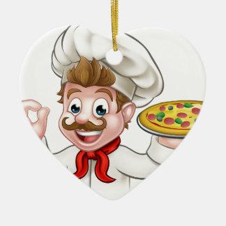 Cartoon Chef Pizza Ceramic Heart Decoration