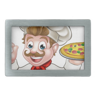 Cartoon Chef Pizza Rectangular Belt Buckles