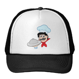 Cartoon chef with dish cap