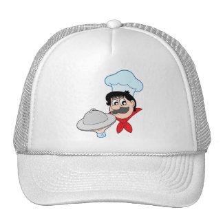 Cartoon chef with dish trucker hats