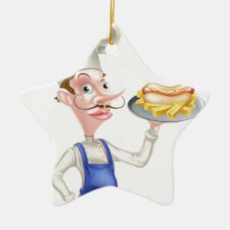Cartoon Chef With Hot Dog and Chips Ceramic Star Decoration