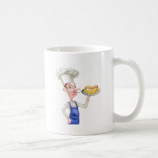 Cartoon Chef With Hot Dog and Chips Coffee Mug