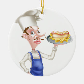 Cartoon Chef With Hot Dog and Chips Round Ceramic Decoration