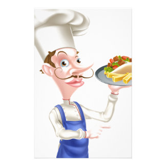 Cartoon Chef With Pita Kebab and Fries Stationery Paper