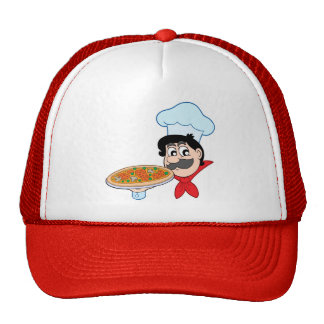 Cartoon chef with pizza cap