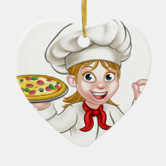 Cartoon Chef Woman and Pizza Christmas Ornament