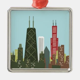Cartoon Chicago Christmas Ornament