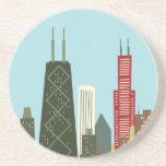 Cartoon Chicago Drink Coasters