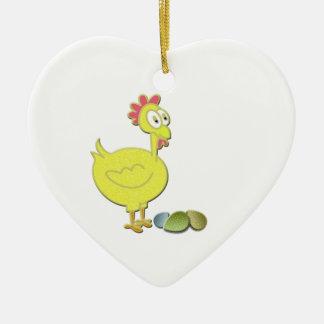 Cartoon Chicken and Eggs Art Ceramic Heart Decoration