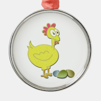 Cartoon Chicken and Eggs Art Christmas Ornament