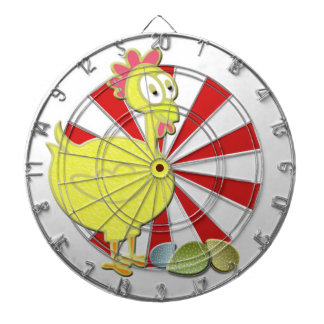 Cartoon Chicken and Eggs Art Dartboard