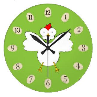 Cartoon chicken illustration large clock