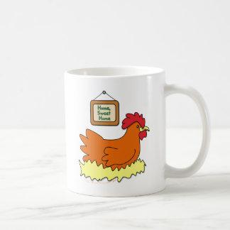 Cartoon Chicken in Nest Home Sweet Home Basic White Mug