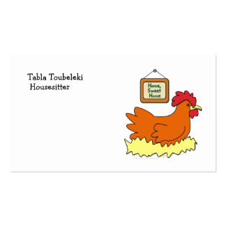 Cartoon Chicken in Nest Home Sweet Home Business Card Templates