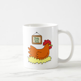 Cartoon Chicken in Nest Home Sweet Home Coffee Mug