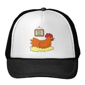 Cartoon Chicken in Nest Home Sweet Home Hat