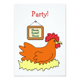 Cartoon Chicken in Nest Home Sweet Home Personalized Invite
