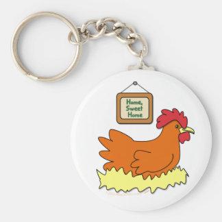 Cartoon Chicken in Nest Home Sweet Home Key Chain