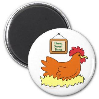 Cartoon Chicken in Nest Home Sweet Home 6 Cm Round Magnet