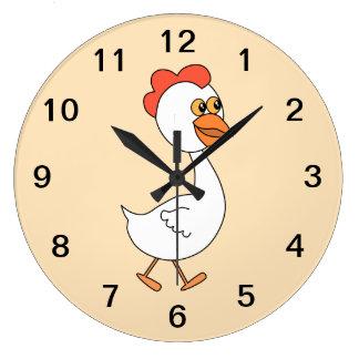 Cartoon Chicken. Large Clock