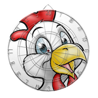 Cartoon Chicken Rooster Character Dartboard With Darts