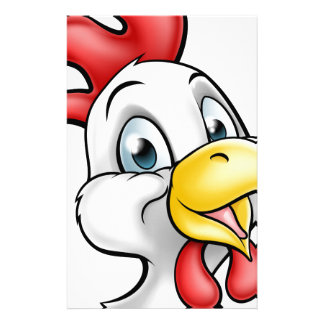 Cartoon Chicken Rooster Character Stationery Design