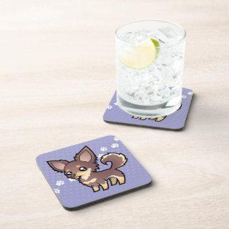 Cartoon Chihuahua (long coat) Beverage Coaster