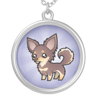 Cartoon Chihuahua (long coat) Silver Plated Necklace