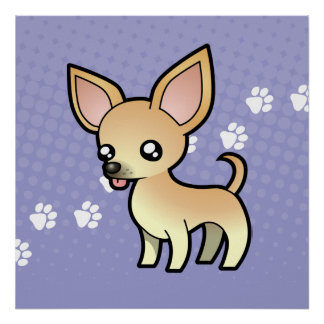 Cartoon Chihuahua (smooth coat) Poster