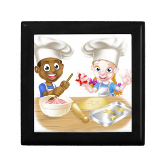 Cartoon Child Chefs Baking Cakes Small Square Gift Box
