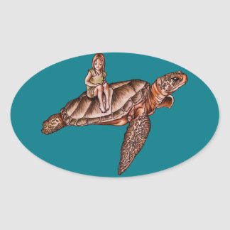 Cartoon Child With Turtle Animal Drawing Oval Sticker