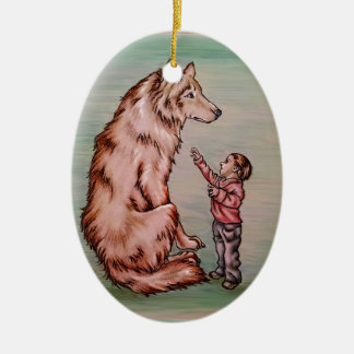 Cartoon Child with Wolf Drawing Christmas Ornament