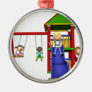Cartoon Children at a Playground Christmas Ornament