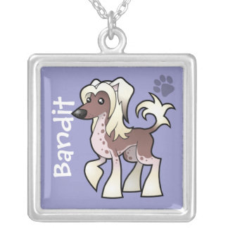 Cartoon Chinese Crested (hairless) (add pets name) Silver Plated Necklace