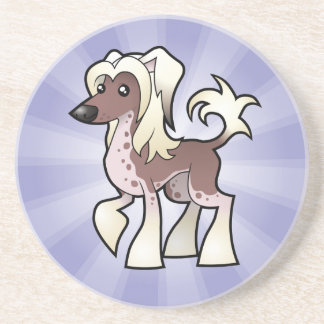 Cartoon Chinese Crested (hairless) Beverage Coaster