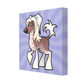 Cartoon Chinese Crested (hairless) Canvas Print