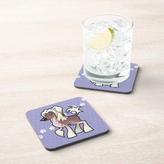 Cartoon Chinese Crested (hairless) Coasters
