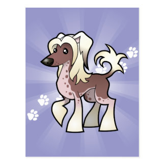 Cartoon Chinese Crested (hairless) Postcard