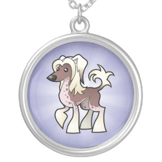 Cartoon Chinese Crested (hairless) Silver Plated Necklace