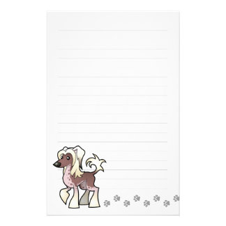 Cartoon Chinese Crested (hairless) Stationery Paper