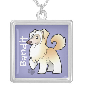 Cartoon Chinese Crested (powderpuff) (add name) Silver Plated Necklace