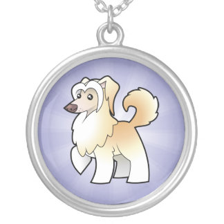 Cartoon Chinese Crested (powderpuff) Silver Plated Necklace