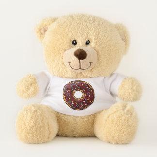 Cartoon Chocolate Donut With Sprinkles Teddy Bear