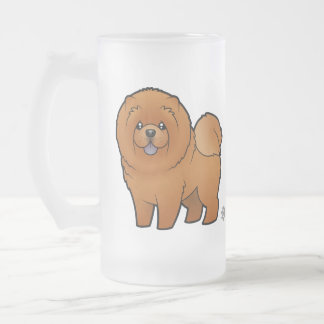 Cartoon Chow Chow Frosted Glass Beer Mug